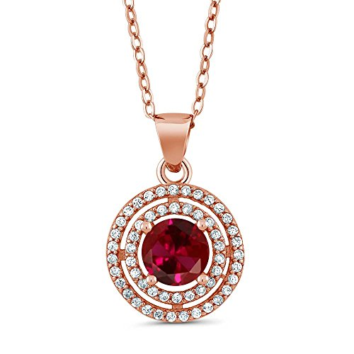 Gem Stone King 1.64 Ct Round Red Created Ruby 18K Rose Gold Plated Silver Pendant
