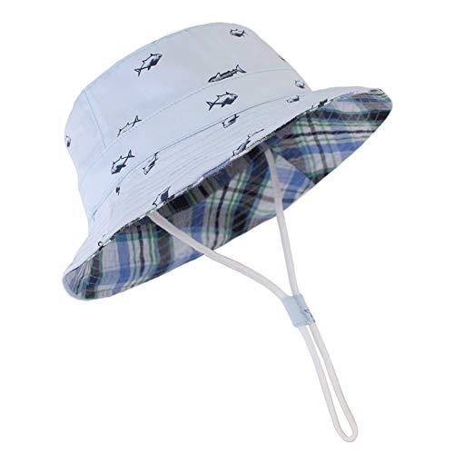 Happy Cherry Verstellbarer Fischerhut mit Kordelzug UV-Schutz Cartoon Muster Mütze Unisex Sonnenhut Jungen Baumwolle Sommerhut Hellblau - Größe 52cm