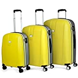 JASLEN - Juego de Maletas de Viaje Ligeras 3 Pzs. Set Trolley ABS 4 Ruedas (Cabina + Mediana + Grande) Rígidas y Resistentes. Conjunto Equipaje Avión 56500, Color Amarillo-Plata