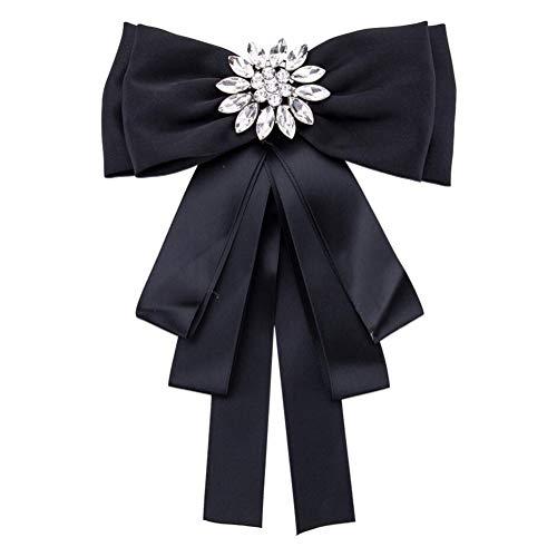 Broche de lazo de cristal con diamantes de imitación, para mujer, niña, boda, fiesta, pajarita (Negro)