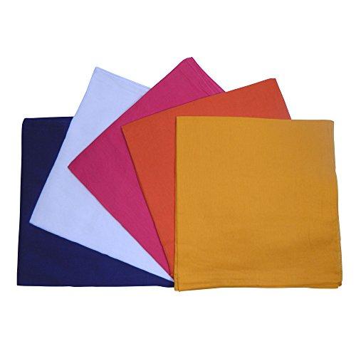 indischerbasar.de Halstuch 5er Pack 100x100cm SetB 5Farben dunkelblau weiss gelb pink orange Baumwolle uni Tuch Accessoire