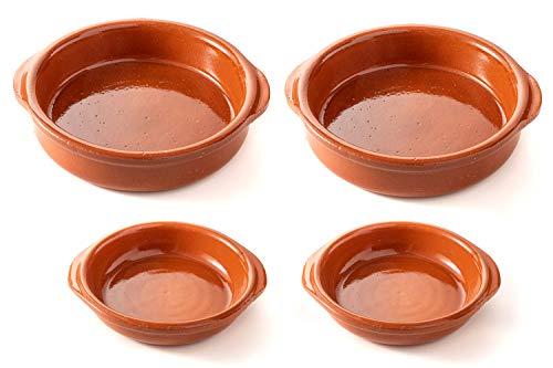 FUMOSA keramische Grillschale Piataci für Grill & Ofen - Cazuela - Tapas Keramik Schale - 4er Set