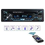 Autoradio Bluetooth4.2, Tobetree4x65W Radio Coche Control Remoto Manos Libres Estéreo de Coche, Soporte USB/AUX en FM/AMMP3/WMA/WAV con Reloj, Función de Radio y de Archivo.