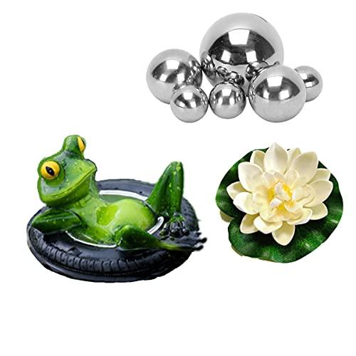 Super Idee Miniteich Deko Set Schwimmfrosch mit 6 Silber Kugeln und 2 STK Lotusblüte für Miniteich Terrassenteich Zinkwannen Solarbrunnen Garten Balkon Teiche Deko (Frosch auf Reifen)
