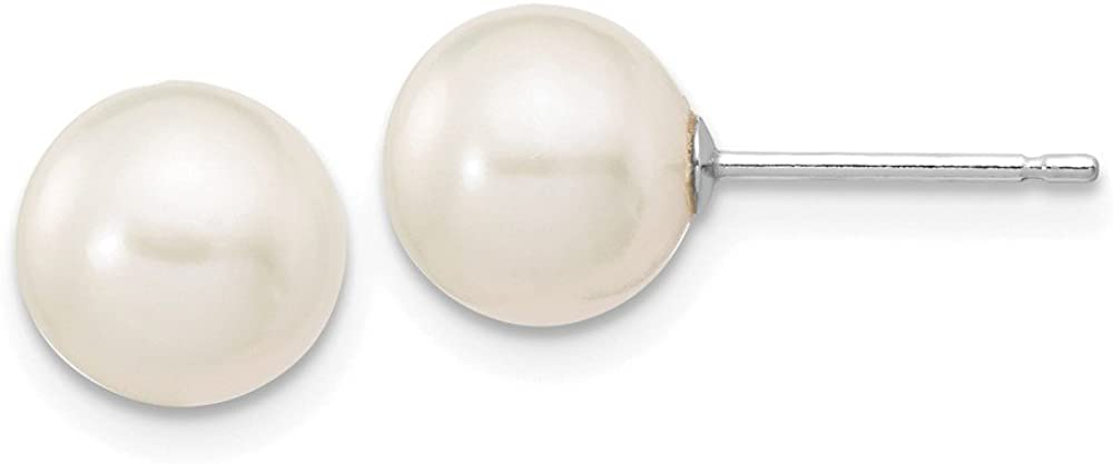Solid 14k White Gold 7-8mm White Round FW Cultured Pearl Stud Earrings
