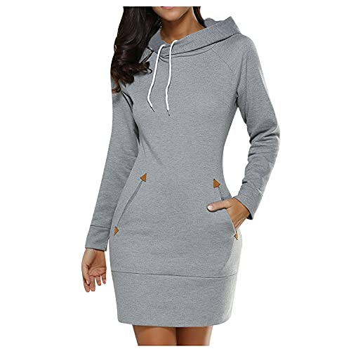 DABAICHUI Dresses for Women UK Drawstring Hooded Sweatshir with Pockets Long Sleeve T-Shirt Dresses Gray
