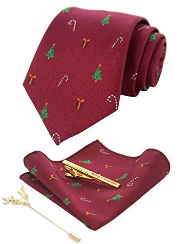 JEMYGINS Uomo Cravatta di Natale Albero di natale con Fazzoletto e Fermacravatta Set 26