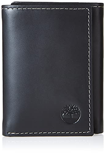 Timberland Mens Leather Trifold Wallet With ID Window, Black (Hunter), One Size