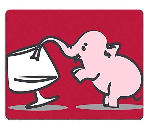 Naturkautschuk-Gaming-Mousepad Winzige rosa Elefantgetränke aus Weinglas-Trunkenheit (Mauspad/Gaming-Mauspad)