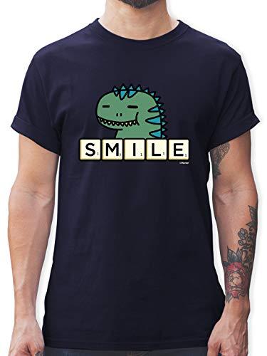 Scrabble Herren - Smile - L - Navy Blau - Herren t Shirt - L190 - Tshirt Herren und Männer T-Shirts