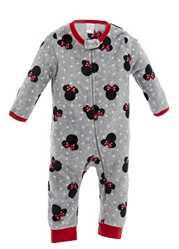Disney Minnie Mouse Infant Baby Girls Fleece Pajama Coveralls Grey, 18 Months