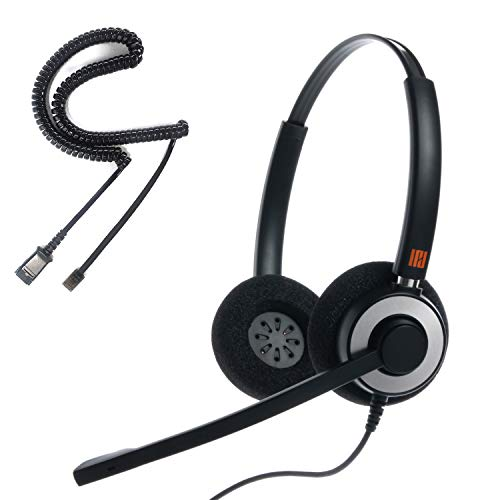 IPD IPH-165 Binaural NC, Corded Headset for Call Center,Office and Landline Phones w U10P Bottom Cable w RJ9 Jack Works with Poycom VVX,Avaya,Nortel, Mitel and Many Other IP Phones