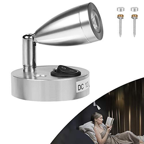 CPROSP 3W 12V LED Lese Lampe Wandlampe aus Aluminium mit eigenem Schalter Warmweiße Licht, für Wohnmobil, Jacht, Arbeitszimmer, Schlafzimmer, 3000K, 220lm, 60 * 96mm, Silber