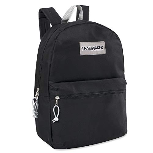 Classic Traditional Solid 17 Inch Backpacks with Adjustable Padded Shoulder Straps