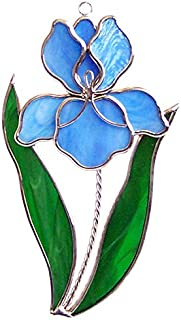 Blue Iris Stained Glass Suncatcher (Stand sold separately)