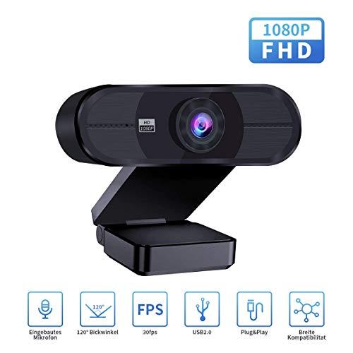 HuaLights Webcammit Mikrofon, Full HD 1080P Webcam für Laptop, Computer, PC, Mac, Plug & Play Streaming Webcam für Live-Streaming, YouTubeLernen, Konferenz, Spielen
