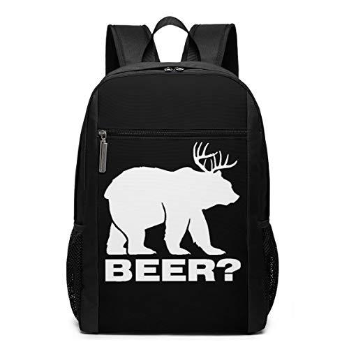 Reh Bier Bär flach Schultasche Reise Rucksack 17 Zoll Laptop BagGgDupp, Polyester, Schwarz , Einheitsgröße
