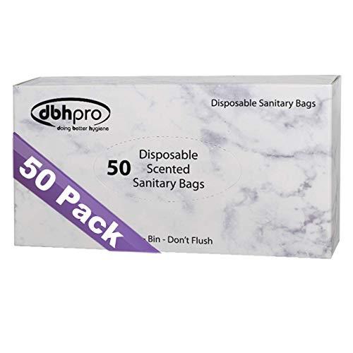 Sanitary Napkin Disposal Bags - Feminine Hygiene Sanitary Bags, 50 Scented Plastic Degradable Disposal Bags for Maxi Pads Tampons Feminine Products
