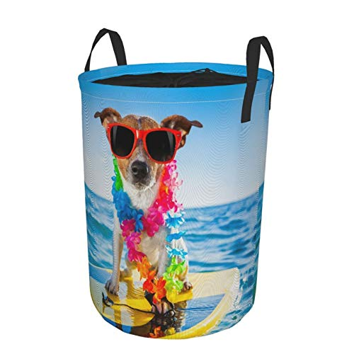 Plegable Grande Cesto de Ropa Sucia,Perro surfeando en una tabla de surf con una cadena de flores y gafas de sol, en la orilla del mar,Lavandería Cesta de Almacenaje Impermeable con Cordón,14' x 19'