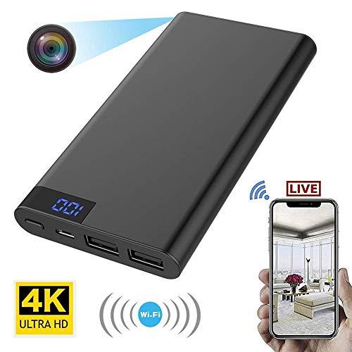 FiveSky - Cámara espía oculta WiFi Mini DV HD 4K, detección de movimiento de visión nocturna, RealTime Video 1200 megapíxeles, Power Bank 10000 mAh, cámara compacta portátil para el hogar