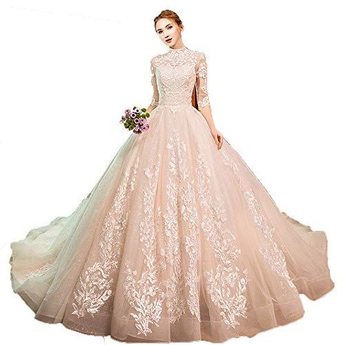 Vestidos de novia de novia de la mujer Mujeres media manga floral...