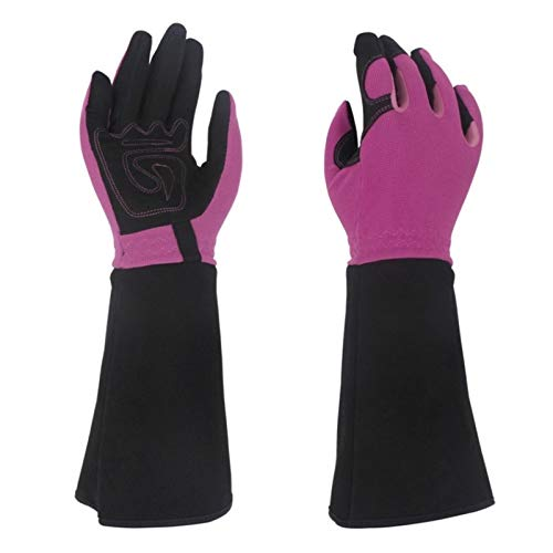 Jardinería 1 par de guantes de jardinería a prueba de espinas Mujeres Guantes de jardín profesional for la poda de rosa con protección de antebrazo extra larga Para jardín (Color : Purple)