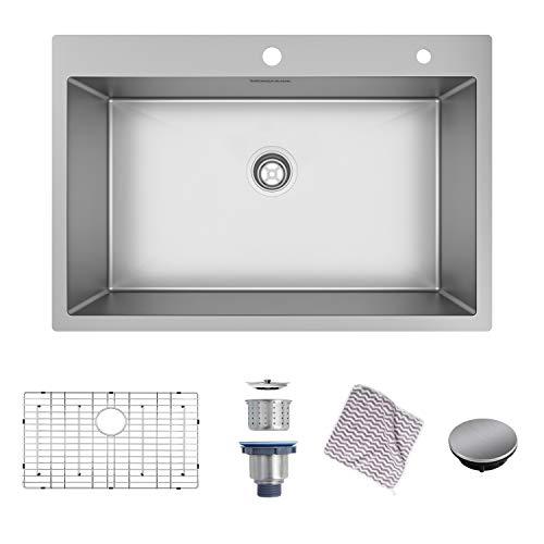 Mensarjor 33 x 22 inch Drop-in or Undermount 16 Gauge R10 SUS304 Stainless Steel Topmount Kitchen Sink Single Bowl (33 X 22 X 10)