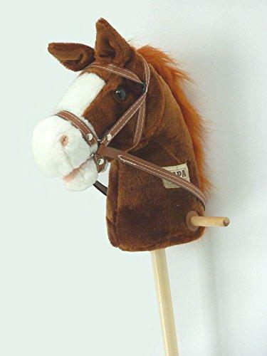 Steckenpferd Schaukelpferd Reitpferd Pferd am Holz Stab in braun ST03