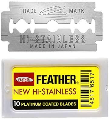 Feather 10 Razor Blades New Hi-Stainless Double Edge