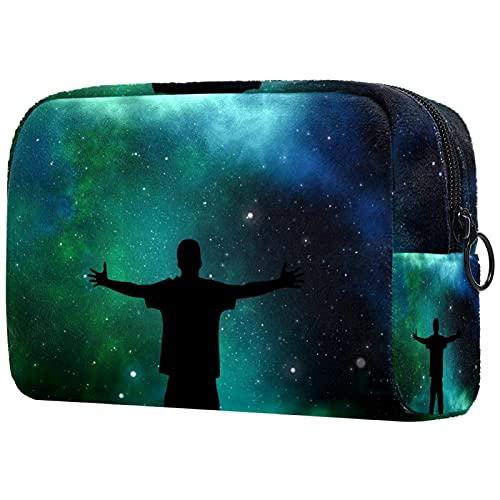 Neceser de viaje, impermeable, bolsa de viaje, bolsa de aseo para mujeres y niñas niño bajo las estrellas, 18,5 x 7,5 x 13 cm