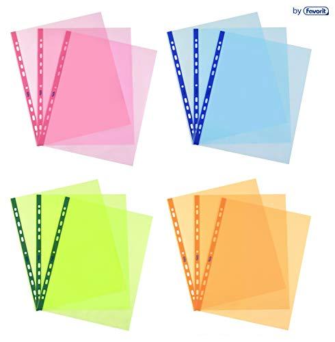 Favorit 100461700 Buste Trasparenti Colorate Pastello, Foratura Universale, Formato Interno 22 x 30 Cm, Finitura Liscia, A4, Confezione da 10 Pezzi, Colori assortiti