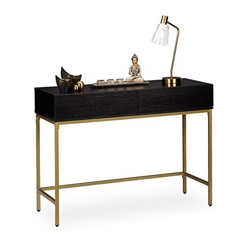 Relaxdays Consola con 2 cajones, aparador, Pasillo, salón, Mesa de Almacenamiento, imitación de Madera, 80 x 110 x 40 cm, Color Negro y Dorado, 1 Unidad