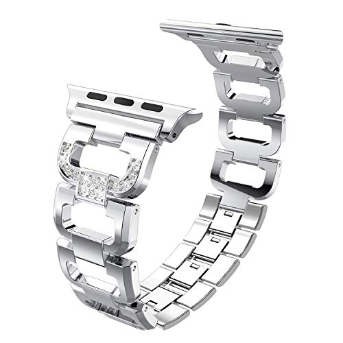 PUGO TOP Compatible with Apple Watch Band 42mm 44mm Series 5 4 3 2 1 iPhone Watch Iwatch Bracelet Bangle Link Strap Stainless Steel with Bling Rhinestones for Women(42mm/44mm, Silver)