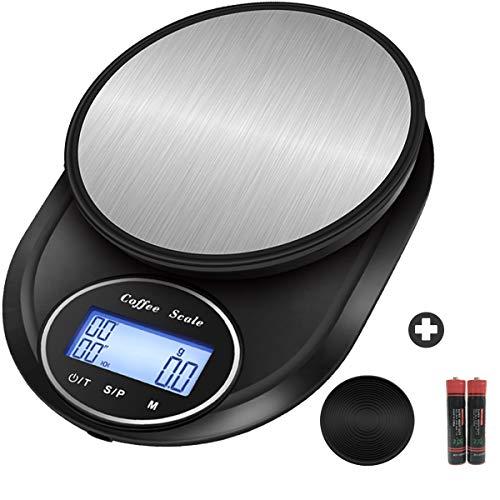 Snowpea Bilancia Digitale da Cucina Elettronica Bilance Alimenti Multifunzionale con Display LCD per Pesa Cibo, 5 kg / 11 lbs, Pesapersone 0,1 g, Superficie in Acciaio Inossidabile