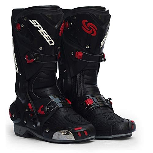 Botas,Zapatos De Moto Racing Speed,Bota De Motocross,Ciclismo Dirt Bike para Hombre,Botas para Hombre En Lancha Motora De 4 Estaciones,Black43