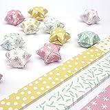 Papierstreifen zum Sterne Basteln | Origami Bastelset für 75 Lucky Stars | 6 verschiedene Muster (Pastell (hell))