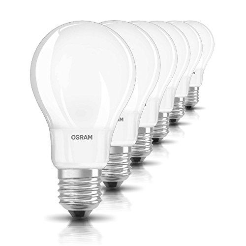Osram LED Star Classic A Lampe, in Kolbenform mit E27-Sockel, nicht dimmbar, Ersetzt 60 Watt, Matt, Warmweiß - 2700 Kelvin, 6er-Pack