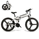 Not application Bicicletas Electricas Plegables,350W Motor Bicicleta Plegable 35 km/, Bici Electricas Adulto con Ruedas de 26', Batería48V 10Ah, Asiento AjustableB White