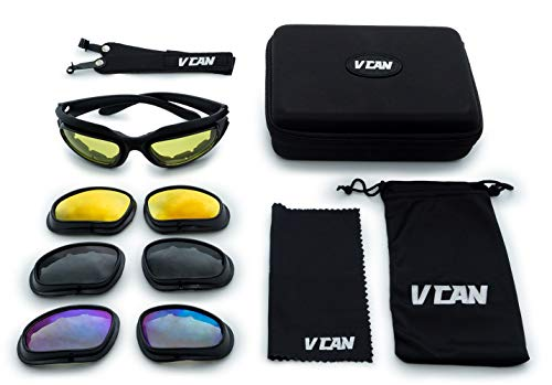VCAN Polarized Motorcycle Riding Glasses Black Frame with 4 Lens Kit for Outdoor Activity Sport
