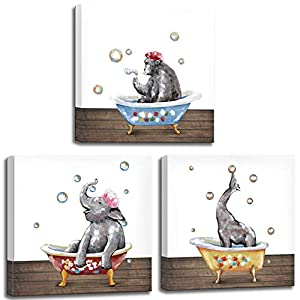 """LoveHouse Abstract Animal Wall Art for Bathroom Wall Decoration 3 Piece Cute Elephant Gorilla Giraffe Take Bath in Bathtub Picture Canvas Print Stretched for Kid Bathroom Ready to Hang 12""""x12""""x3 Panel"""
