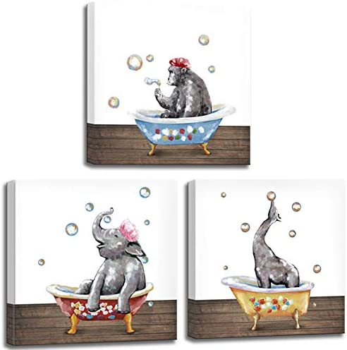 LoveHouse Abstract Animal Wall Art for Bathroom Wall Decoration 3 Piece Cute Elephant Gorilla product image