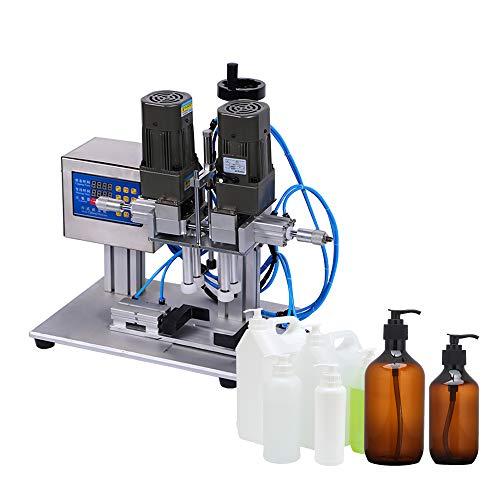 Taponadora de botellas neumática eléctrica semiautomática de 300 vatios, atornillador de tapa de escritorio de acero inoxidable multifuncional 48x35x60cm, 2m / botella, CE/FCC