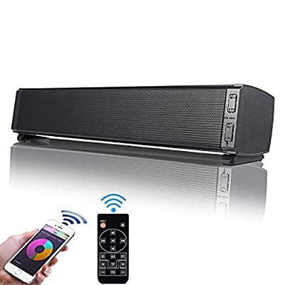 Fityou SoundBar Speaker, 20W Wired & Wireless Bluetooth 5.0 Mini Sound Bar Built-in Mic, USB Powered Computer Speakers for TV/PC/Cellphone/Tablet/Desktop/Laptop with Remote Control from Fityou