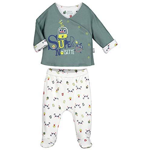 Petit Béguin - Ensemble bébé garçon gilet double épaisseur + sarouel Supernoisette avec pieds - Taille - 9 mois