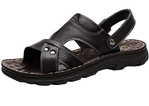 Vocni - Sandalias de piel casual para hombre (tallas 36-42), (Black_03), EU 42-8.5D(M) US
