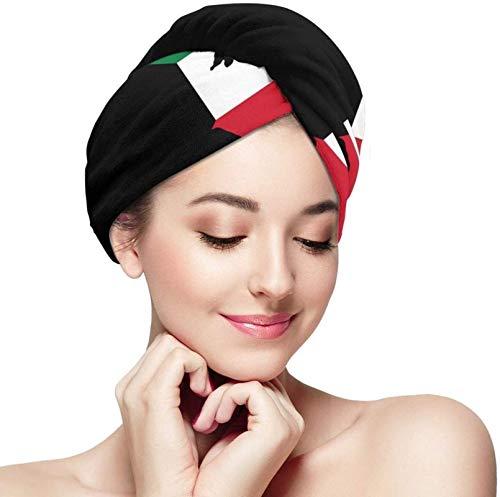 Toalla seca súper absorbente de cinturón de fibra Cap de cabello seco Kuwait Mapa de la bandera de la toalla de la toalla de la toalla de la microfibra de la toalla seca del pelo del cabello de la toa