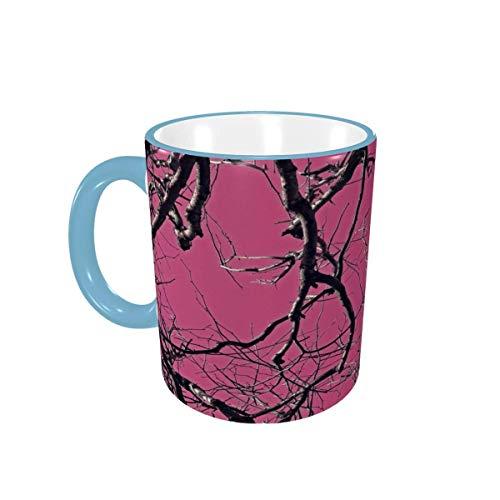 Taza de café Tazas de café de Camuflaje Rosa Tazas de cerámica con Asas para Bebidas Calientes - Cappuccino, Latte, Tea, Cocoa, Cereal, Tea Cup, Coffee Gifts 12 oz Forest Green