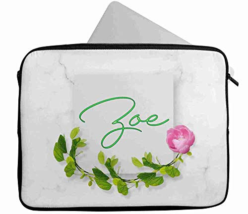Personalised Any Name Floral Design Laptop Case Sleeve Tablet Bag Chromebook Gift 199 (16-17 inch)