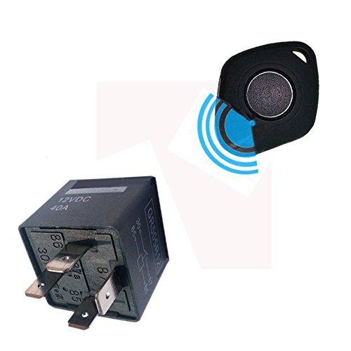 YOUANDMI 12V Alarma Coche Relé Sin Instalacion con USB Recargable Mando A Distancia -Universal Cerradura Electronica Seguridad Kits para Coche(30/40A),Recognizer*2,TXB