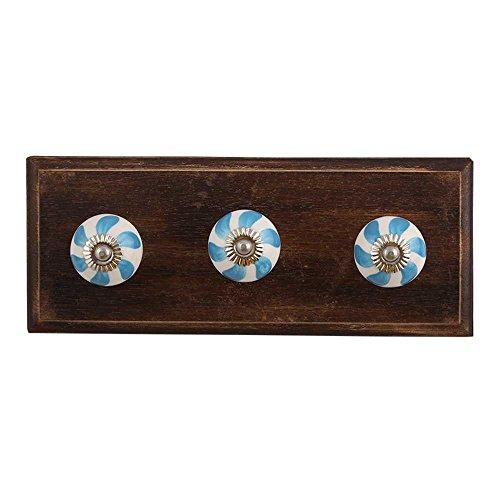 Indianshelf - Juego de 1 abanico de madera para colgar abrigos y sombreros hechos a mano, color azul